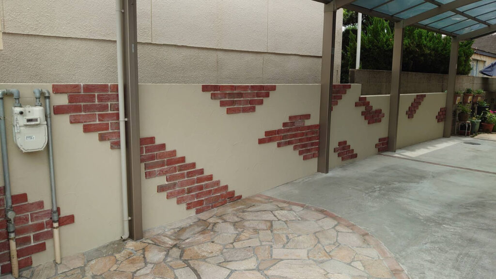 姫路市某邸 外構工事 土間コンクリート 壁装飾工事
